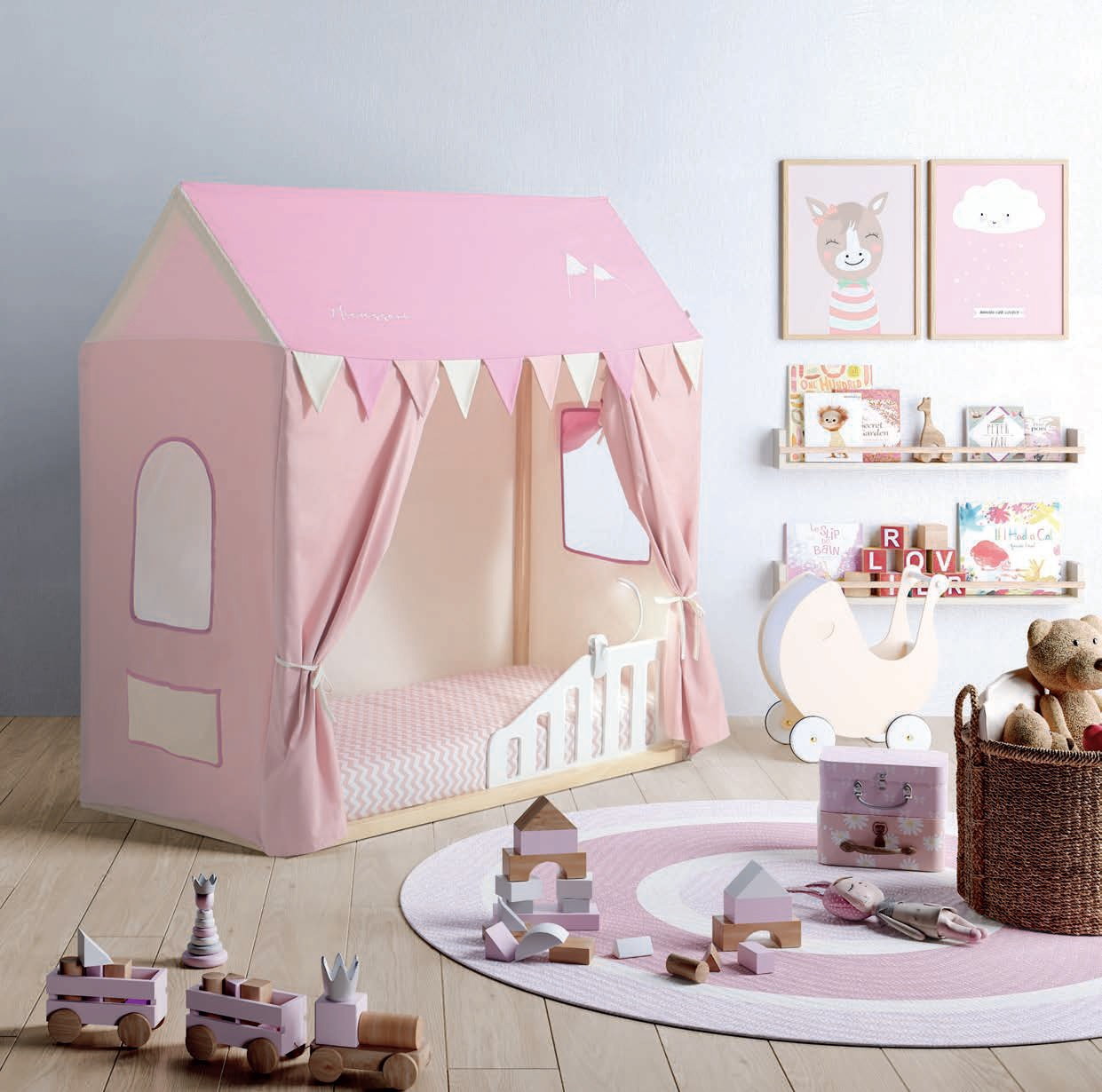 Cama Casita Tippi House Pink Camp (Estructura y Textil Casita)