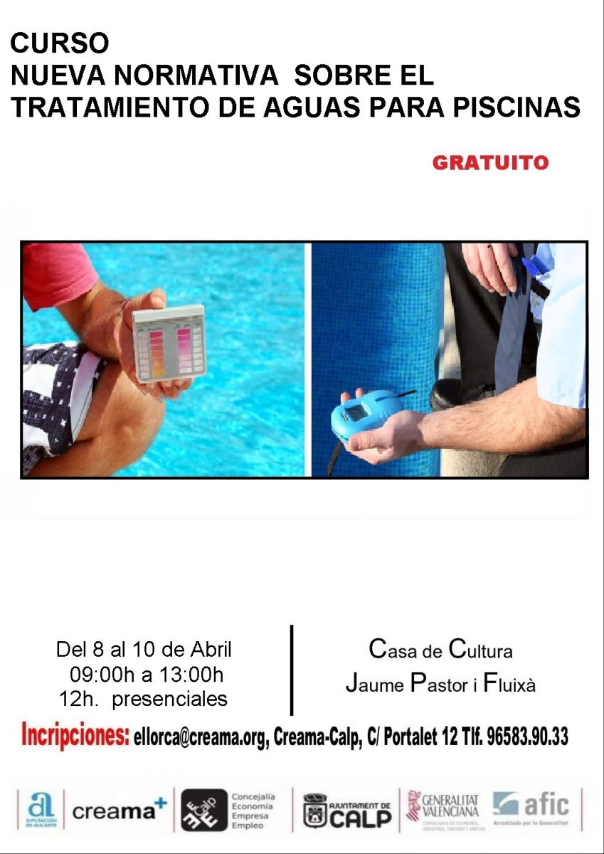 Ajuntament de calp directorio comercial de la comunitat for Curso mantenimiento piscinas