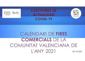 CALENDARI DE FIRES COMERCIALS DE LA COMUNITAT VALENCIANA DE L'ANY 2021