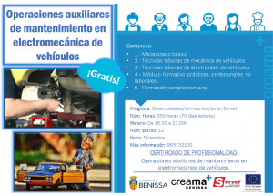 CREAMA-BENISSA recibe más de 29.000 € de LABORA para organizar el curso de Operaciones Auxiliares de mantenimiento en Electromecánica de vehículos.