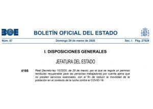 Real Decreto-ley 10/2020, de 29 de marzo, por el que se regula un permiso retribuido recuperable para las personas trabajadoras por cuenta ajena que no presten servicios esenciales.