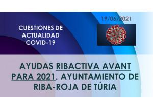 Ayudas Ribactiva Avant para el ejercicio 2021 del Ayuntamiento de Riba-roja de Túria