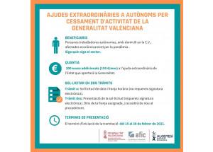 AYUDAS EXTRAORDINARIAS AUTÓNOMOS POR CESE DE ACTIVIDAD DE LA GENERALITAT VALENCIANA