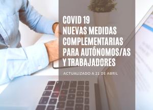 COVID19 Adoptadas nuevas medidas complementarias para autónomos y trabajadores (21 de abril)