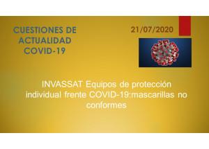 INVASSAT Equipos de protección individual frente COVID-19:mascarillas no conformes