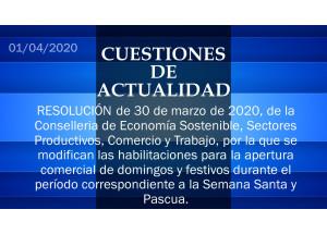 RESOLUCIÓN de 30 de marzo de 2020, de la Conselleria de Economía Sostenible, Sectores Productivos, Comercio y Trabajo.