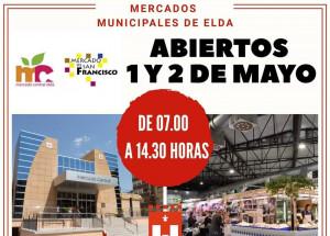 HORARIO COMERCIAL EXCEPCIONAL MERCADOS DE ELDA FESTIVO 1 DE MAYO