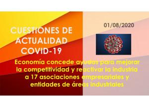 Economía concede ayudas para mejorar la competitividad y reactivar la industria a 17 asociaciones empresariales y entidades de áreas industriales