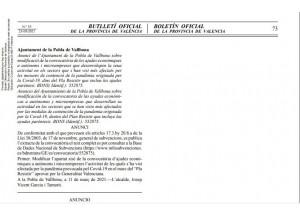 Modificación de la convocatoria de las ayudas económicas para autónomos y microempresas- Ayudas paréntesis. Ayuntamiento de la Pobla de Vallbona