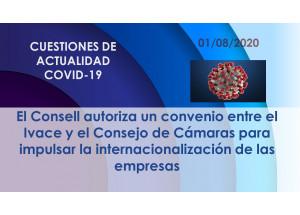 El Consell autoriza un convenio entre el Ivace y el Consejo de Cámaras para impulsar la internacionalización de las empresas