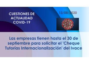 Las empresas tienen hasta el 30 de septiembre para solicitar el 'Cheque Tutorías Internacionalización' del Ivace