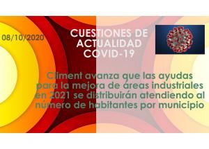 Climent avanza que las ayudas para la mejora de áreas industriales en 2021 se distribuirán atendiendo al número de habitantes por municipio