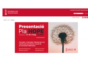 PLAN HOPE. Cercador i orientador d´ajudes per a la reactivació económica i social de la Comunitat Valenciana