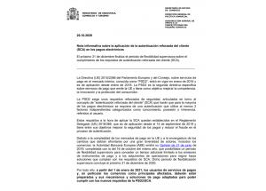 Nota informativa sobre l'aplicació de l'autenticació reforçada del client (SCA) en els pagaments electrònics