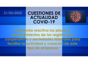 Economía reactiva los plazos y procedimientos de los registros de cooperativas y sociedades laborales para facilitar la actividad y creación de este tipo de empresas