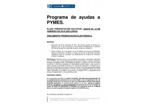 RESUMEN EXPLICATIVO PROGRAMA DE AYUDAS A PYMES 2018