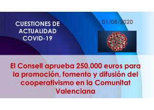 El Consell aprueba 250.000 euros para la promoción, fomento y difusión del cooperativismo en la Comunitat Valenciana