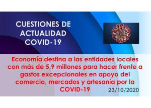 Economía destina a las entidades locales con más de 5,9 millones para hacer frente a gastos excepcionales en apoyo del comercio, mercados y artesanía por la COVID-19