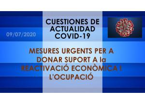 MESURES URGENTS PER A DONAR SUPORT A la REACTIVACIÓ ECONÒMICA I L'OCUPACIÓ