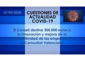 El Consell destina 300.000 euros a la innovación y mejora de la competitividad de las empresas de la Comunitat Valenciana