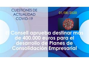 El Consell aprueba destinar más de 400.000 euros para el desarrollo de Planes de Consolidación Empresarial