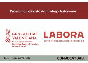 Recordatorio !!!  Ayudas Autónomos 2021 Comunitat Valenciana. EAUTOE 2021. Hasta 1 de septiembre de 2021.
