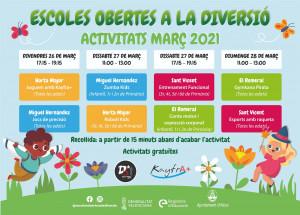 Vuelven las 'escoles obertes' y las actividades culturales del programa de actividades extraescolares llevado a cabo con la subvención de la Generalitat