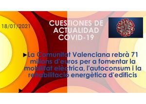La Comunitat Valenciana rebrà 71 milions d'euros per a fomentar la mobilitat elèctrica, l'autoconsum i la rehabilitació energètica d'edificis