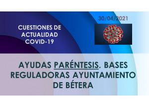 AYUDAS PARÉNTESIS BASES REGULADORAS AYUNTAMIENTO DE BÉTERA