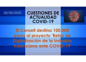 El Consell destina 100.000 euros al proyecto 'Retos de Digitalización de la Industria Valenciana ante COVID-19'