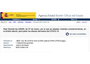 Real Decreto-ley 9/2020, de 27 de marzo, por el que se adoptan medidas complementarias, en el ámbito laboral, para paliar los efectos derivados del COVID-19.