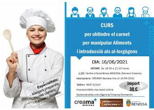 Nova edició del curs en Creama Benissa per a obtenció del carnet per a manipular aliments.