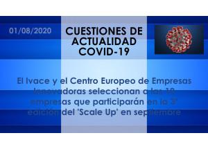 El Ivace y el Centro Europeo de Empresas Innovadoras seleccionan a las 10 empresas que participarán en la 3ª edición del 'Scale Up' en septiembre