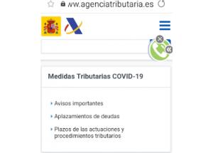 MEDIDAS TRIBUTARIAS COVID-19 - AGENCIA TRIBUTARIA