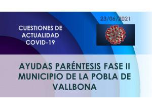 AYUDAS PLAN RESISTIR FASE II POBLA DE VALLBONA