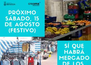 El próximo sábado 15 de agosto habrá mercado semanal en Benissa.