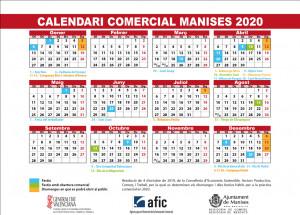 CALENDARIO COMERCIAL MANISES 2020