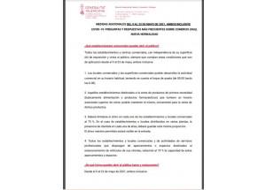 MEDIDAS ADICIONALES COVID-19. del 9 al 23 de mayo: PREGUNTAS Y RESPUESTAS MÁS FRECUENTES SOBRE COMERCIO (FAQ). NUEVA NORMALIDAD