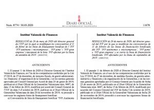 Líneas de financiación bonificada IVF (Instituto Valenciano de Finanzas). modificaciones para hacer frente al COVID.