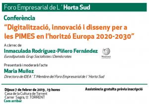 DIGITALITZACIÓ, INNOVACIÓ I DISSENY PER A LES PIMES EN L'HORITZÓ EUROPA 2020-2030