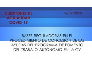BASES REGULADORES EN EL PROCEDIMENT DE CONCESSIÓ DE LES AJUDES DEL PROGRAMA DE FOMENT DEL TREBALL AUTÒNOM EN LA CV
