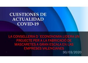 La Conselleria d'Economia lidera un projecte per a la fabricació de mascaretes a gran escala en les empreses valencianes