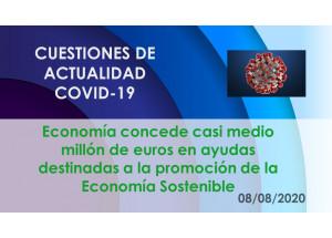 Economía concede casi medio millón de euros en ayudas destinadas a la promoción de la Economía Sostenible