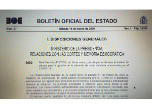 Reial decret 463/2020, de 14 de març, pel qual es declara l'estat d'alarma