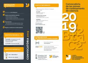 LA ADL – AFIC DE ONDARA INFORMA DE LA CONVOCATORIA DE LES PRUEBAS DE CONOCIMIENTO DE VALENCIANO 2019