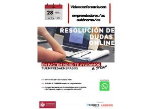 Sesión online con emprendedores/as y autónomos/as.