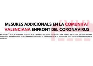 MESURES ADDICIONALS EN LA COMUNITAT VALENCIANA ENFRONT DEL CORONAVIRUS