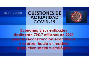 Economía y sus entidades destinarán 795,7 millones en 2021 para la reconstrucción económica y avanzar hacia un modelo productivo social y ecológico