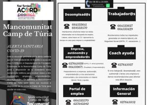 Teléfonos que pone a disposición la Mancomunidad Camp de Túria para atender dudas de desempleados, emprendedores, empresas, autónomos y trabajadores.