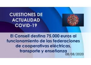 El Consell destina 75.000 euros al funcionamiento de las federaciones de cooperativas eléctricas, transporte y enseñanza